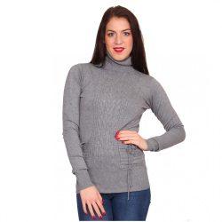 Szürke női kötött garbó nyakú pulóver