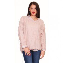 Rózsaszín galléros női 2 az egyben pulóver Naomi