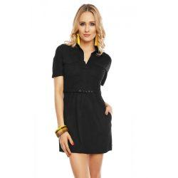 Fekete rövid ujjú női velúr hatású ruha övvel