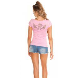 Rózsaszín női  rövid ujjú felső  hátán köves dekorral