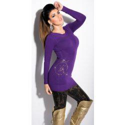 Lila női hosszú pulóver sztrasszkövekkel