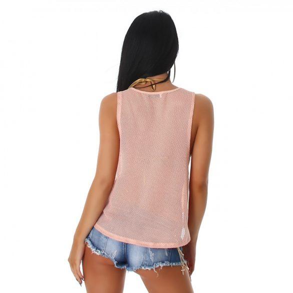 Rózsaszín női ujjatlan póló