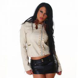 Bézs női bőrhatású szegecses kabát