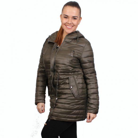 Khakizöld színű női átmeneti kabát kapucnival