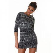 Fekete-fehér mintás női ruha