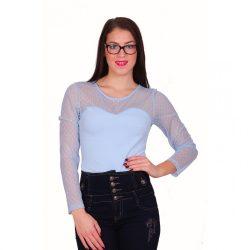 Kék női body muszlin résszel