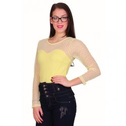 Sárga női body muszlin résszel