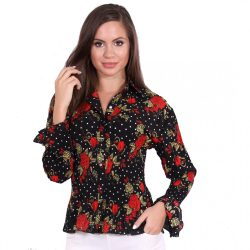 Fekete virágmintás női ing
