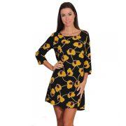 Fekete sárga virágmintás női ruha