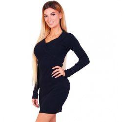 Fekete női átlapolt kötött bordás anyagú ruha