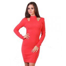 Korall női testhezálló ruha kivágott vállal