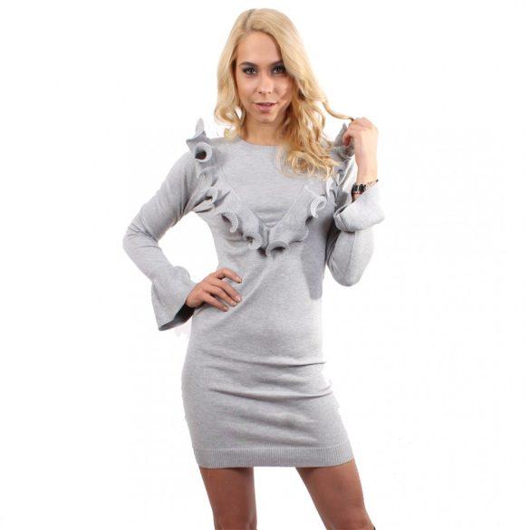Szürke női testhezálló ruha fodrokkal