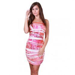 Pink-narancs mintás ujjatlan sztreccs ruha Naomi