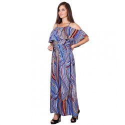 Kék csíkos női maxiruha