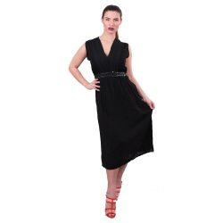 Fekete ujjatlan női maxiruha flitterekkel