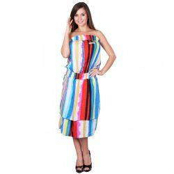 Kék-pink csíkos női ujjatlan nyári ruha Naomi