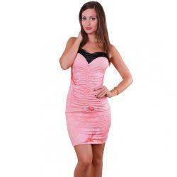 Korall sztreccs ujjatlan női ruha