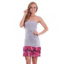 Szürke ujjatlan fodros női nyári ruha Naomi