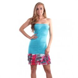 Kék ujjatlan fodros női nyári ruha Naomi