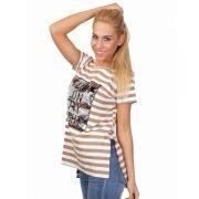 Bézs-fehér csíkos flitteres női póló
