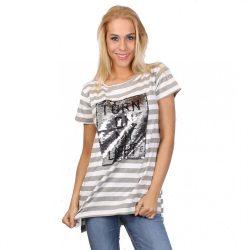 Szürke-fehér csíkos flitteres női póló