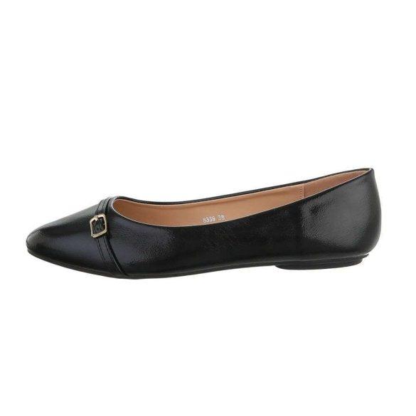 Fekete fényes női balerina cipő