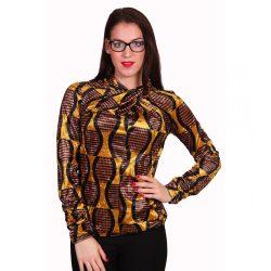 Mustár sárga mintás női átlapolt felső