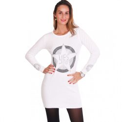 Fehér női kötött strasszköves ruha